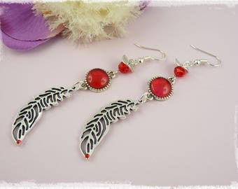 Red - Feather earring