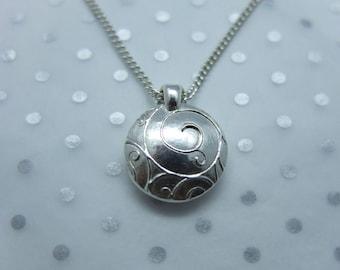 Handmade Silver Lentil Bead Pendant