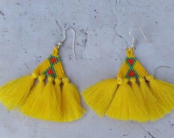 """""""Yellow tassels"""" beaded earrings"""