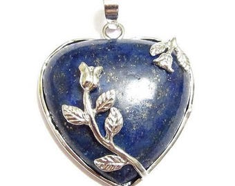 Floral silver plated - lapis lazuli heart pendant