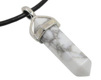 Pendant double point silver plated - Howlite