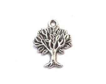 Breloque charm pendentif arbre de vie - plaqué argent (5 pièces)