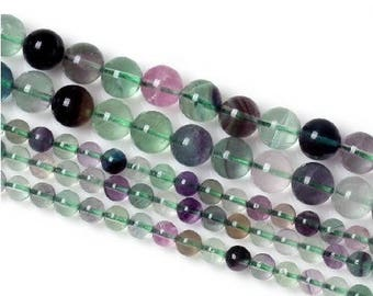 4 x 20 mm Rainbow fluorite round bead