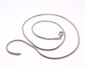 Chain link necklace tube 2 mm to 48cm, silver pendant, snake chain necklace