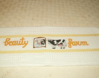 "Towel embroidered cross-stitch ""farm beauty"""