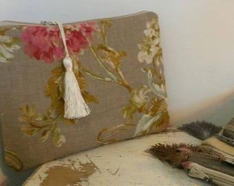 Linen hand /housse Tablet pouch / makeup, designer fabric