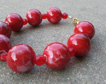 Ceramic Beaded Bracelet : Rose