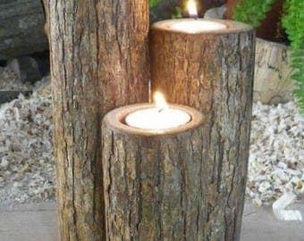 set of 3 candles set beech