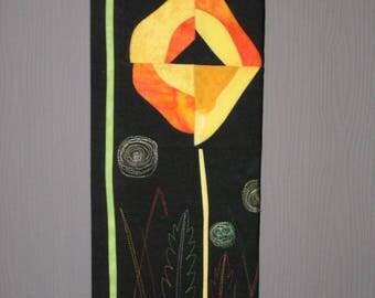 Table art textile patchwork flower