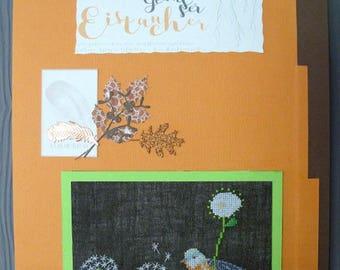 Orange bird embroidered cross stitch chart