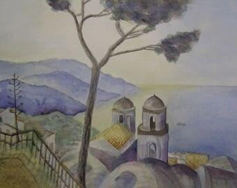 Blue watercolor Ravello