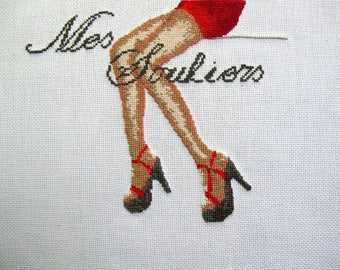 """Embroidery """"shoes"""" cross stitch"""