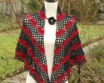 Handmade crochet in red and Black wool shawl