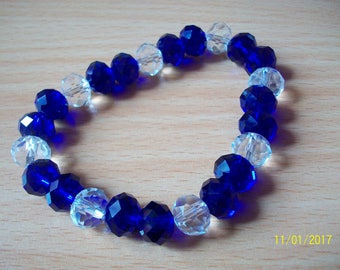 Navy Blue and transparent glass pearl bracelet