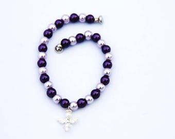 Purple Pearl Bracelet, Angel Bracelet, Purple Bracelet, Pearl Bracelet, Gift for Her, Mothers Day Gift, Wedding Jewellery, Bridal Bracelet