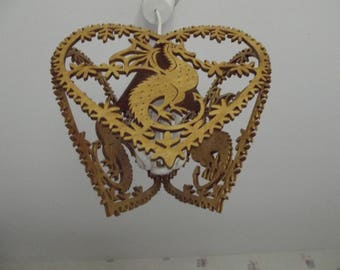 Lamp or chandelier sweet dragon in a decorated heart