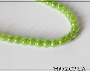 Set of 20 beads 6 mm Pearl 1372 green stained glass