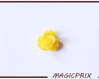 SET of 10 CABOCHONS flower Ø 10 mm yellow m231