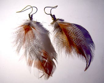 Earrings feathers copper - toned purple and gray