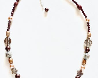 Metal and glass bead necklace