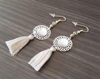 Rose gray tassel Earrings