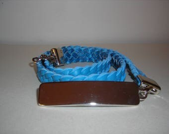 Women leather belt braided four strand light blue.