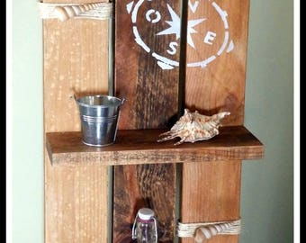 Navy decorative recycled pallet wood shelf