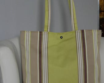 Brown/beige/Green striped fabric tote bag