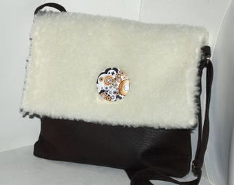 Handbag bag skin synthetic brown/white coat is synthetic