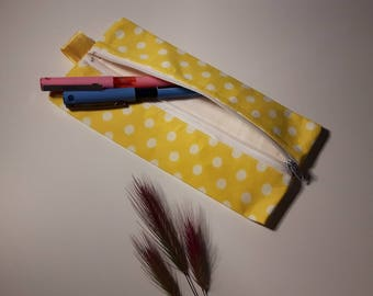 "Kit for pens rectangular ""yellow polka dot"""