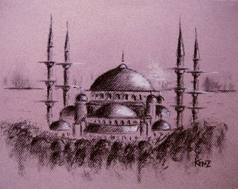 Blue Mosque in charcoal