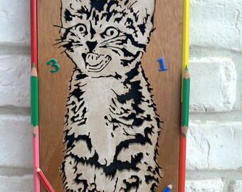 """Carved wood frame """"Kitten"""""""