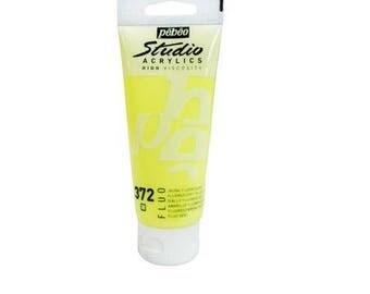 "Acrylic painting 100 ml ""Neon yellow"" High Viscosity - Pébéo Studio Acrylics - Ref 832372"