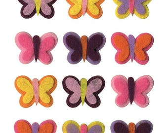 "12 assorted shapes ""Butterflies"" - Artemio - Ref 13070175 felt"