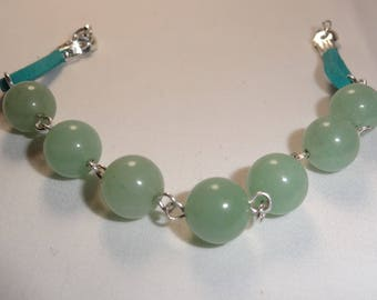 Magnetized and therapeutic green aventurine Stretch Bracelet