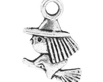 Witch & broom Halloween 13x10mm charm pendants 25