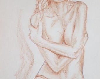 """Nude woman with hat"" drawing standing pencil sanguine gift for her original human artistic nude birthday"