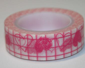 Masking tape (washi) - grid with hearts pink