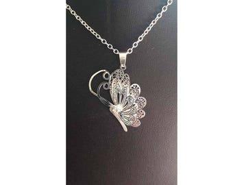A pretty Butterfly Necklace silver filigree butterfly, butterfly