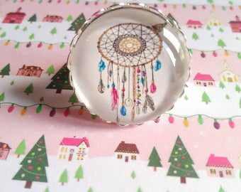 A pretty ring with 1 glass cabochon 25 mm Dreamcatcher 5 colors