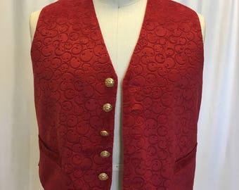 XL Red Swirl Velveteen Vest