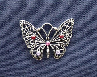 Clear Red/Pink/Purple rhinestone silver metal Butterfly charm