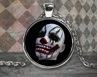 Round Creepy Clown Halloween Necklace in Silver Plate and Gold Plate