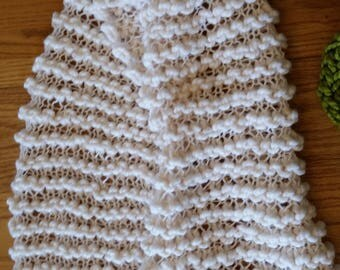 Cream Hand-knit Lacy Scarf