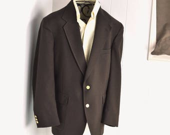 Men's Blazer 44R Dark Brown Fitted Jacket 80's Classic Vintage Menswear Mens Large Sport Coat