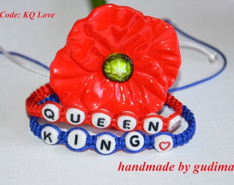 Bracelets for Her (Queen) and His (King) valentine's day macrame bracelet handmade by gudimaO