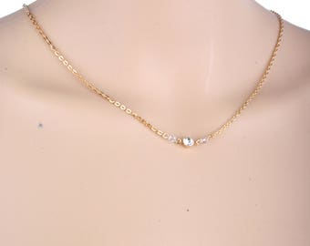 Gold chain necklace with long backdrop, Petite necklace, wedding necklace, prom necklace, Swarovski necklace, gold necklace