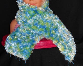Beautiful blue/green heathered wool knitted scarf