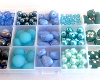 Big Blue lot of 170 beads including 50 craft and storage box