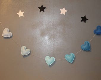 Garland of hearts in shades of blue